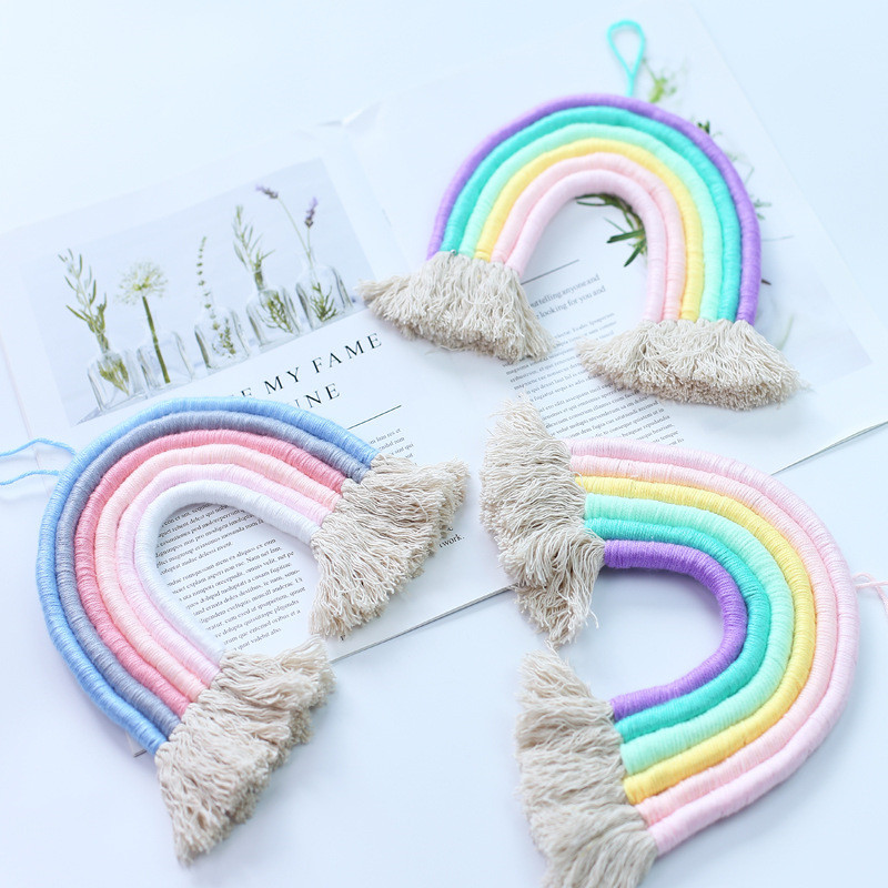 Nordic Hand-woven Rainbow Tapestry Boho Rainbow Tassel Wall Hanging Ornaments Kids Room Decoration Wind Chimes Photo Props Gifts