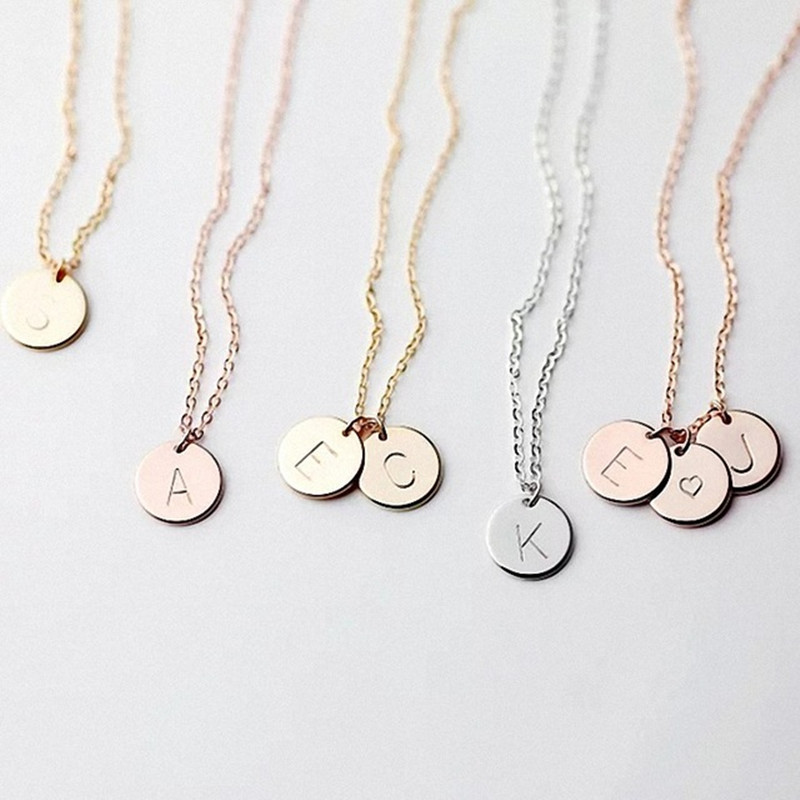 DIY Tiny Gold Initial Necklace Gold Silver Letter Necklace Initials Name Necklaces Pendant for Women Girls Best Birthday Gift(China)