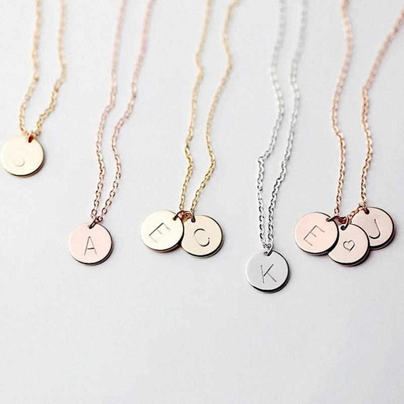 DIY Tiny Gold Initial Necklace Gold Silver Letter Necklace Initials Name Necklaces Pendant for Women Girls Best Birthday Gift
