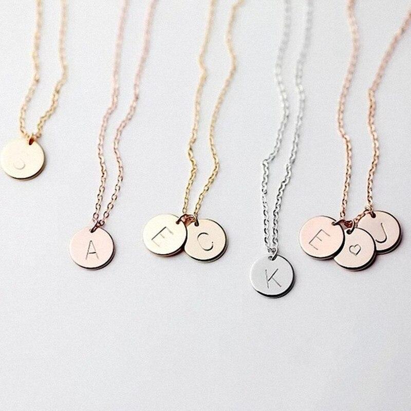 DIY крошечное Золотое начальное ожерелье Золотое серебряное письмо ожерелье инициалы имя ожерелье s кулон для женщин девочек лучший подарок ...