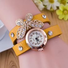 Moda relógios de pulso das senhoras das mulheres de luxo pulseira relógios de rhinesstone borboleta relogio feminino relógio relógio de quartzo 2649