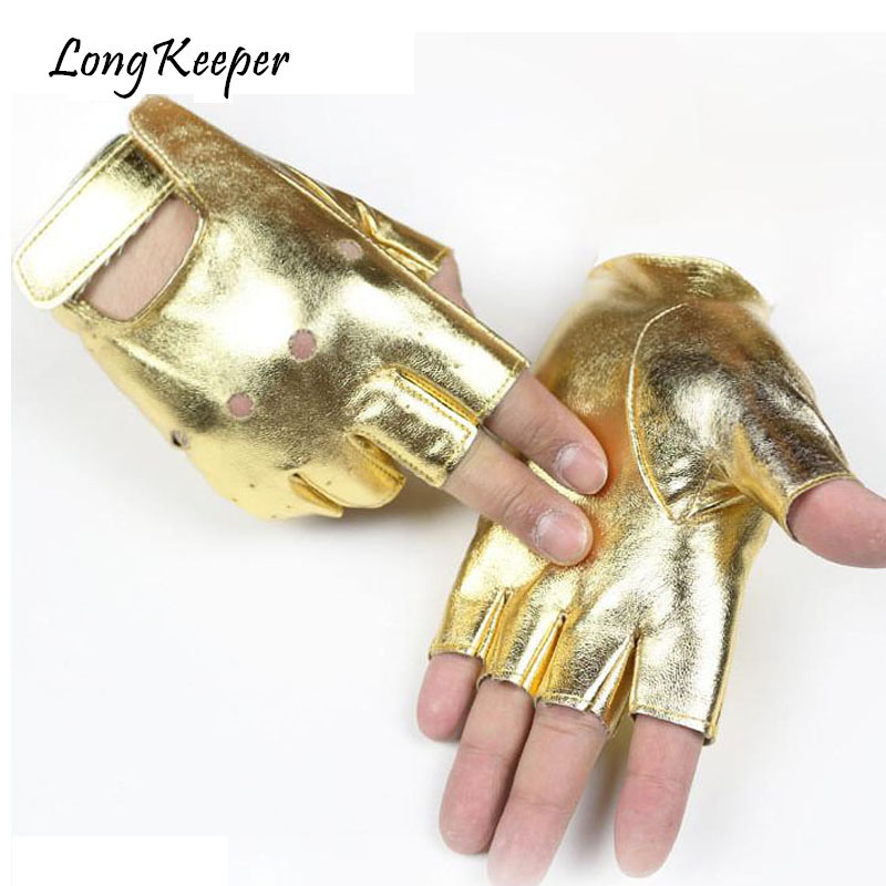Long Keeper Work Out Men Driving Women Gloves PU Leather Fingerless Gloves For Women Gold Black For Dancing Party Show M131