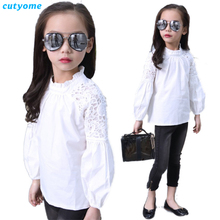 White Puff Sleeve Blouses for Baby Girls Cutyome Long Sleeve Floral Lace Children School Shirt Kids Teeange Blouses Clothes Tops