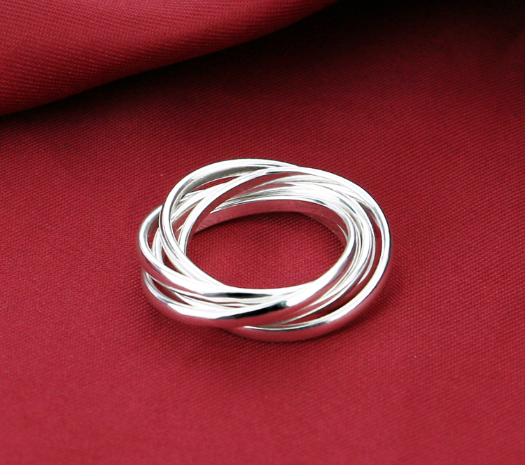 Fashion solid 925 sterling silver woman rings New fashion design lucky Silver Rings wholesale charm lady Silver Rings jewelry in Rings from Jewelry Accessories