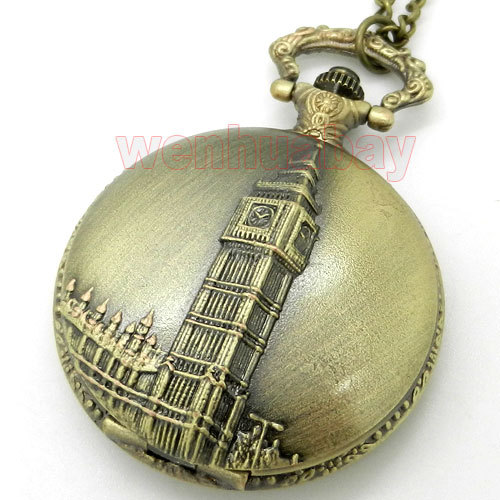 Vintaeg Antique Bronze Big Ben London Quartz Men Pocket Watch Chain Necklace Pendant Gift P82