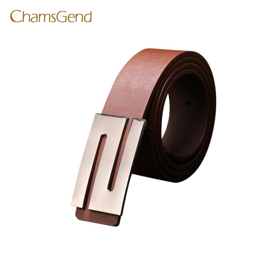 Chamsgend New Fashion Men Women Automatic Buckle Leather Waist Strap Belts Buckle Belt May12