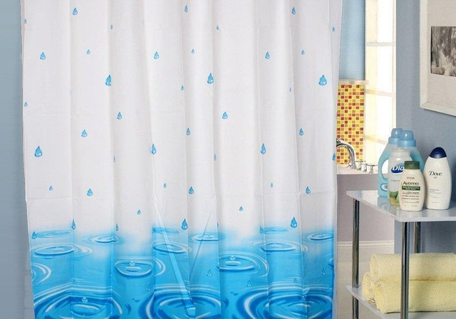 Raindrop Shower Curtain Mildew Waterproof Bathroom Fabric Buckle Thick Eye