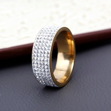 5 Row Lines Clear Crystal Wedding Rings For Women Rhinestone Stainless Steel
