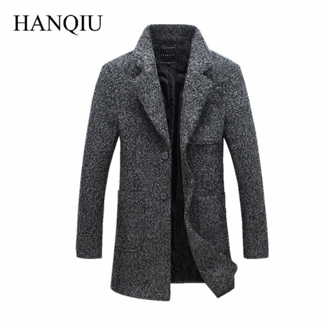 2017 New Fashion Long Trench Coat Men Winter Mens Overcoat 40% Wool Thick Trench Coat Male Jacket