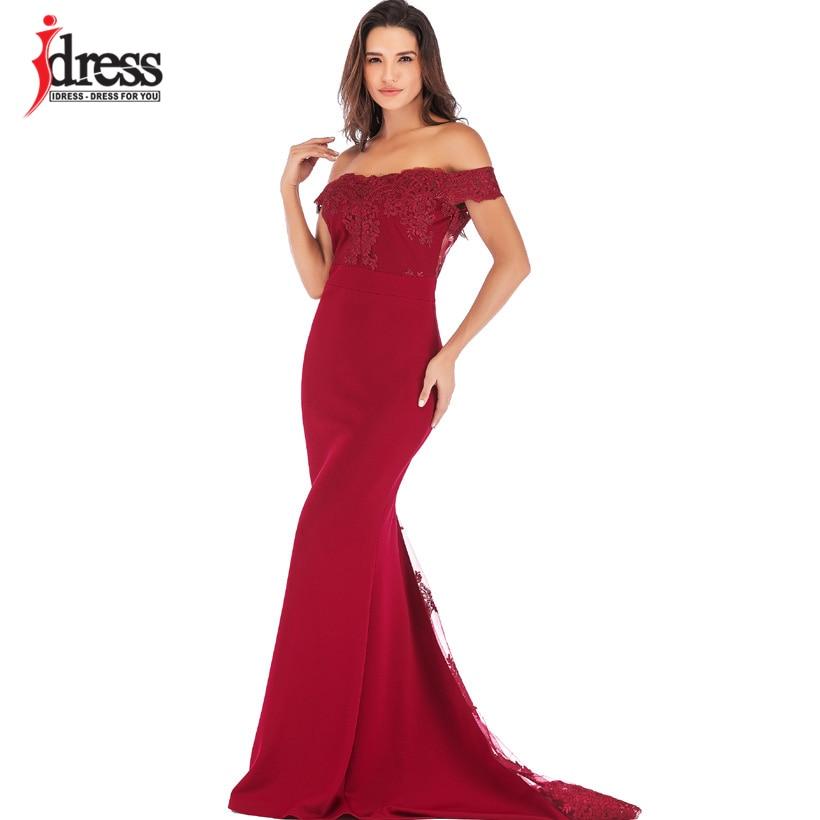 US $24.69 45% OFF|IDress 2019 Runway Frauen RotRosaSchwarz Spitze Bodycon Mermaid Maxi Kleid Off Schulter Elegante Sommer Lang Kleid für Abend
