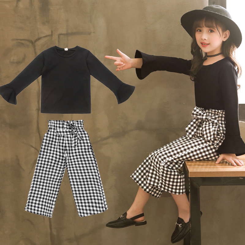 Clothes Set For Girls Boutique Outfits Fall Toddler Girl Clothing Black Long Sleeve Shirt + Plaid Pant 2pcs Ensemble Fille 8 11 classic plaid pattern shirt collar long sleeves slimming colorful shirt for men