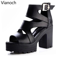 2019 New Fashion Womens Sandals Casual Summer Shoes Buckled Platform Pumps Peep Toe Black Lady aa0959