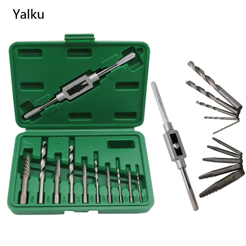 Yalku HSS Twist Drill Bit Set 11 In 1 Screw Extractor Tap Holder Drill Bit Set Power Tool Kit Screw Extractor Drill Bit Set free shipping of 1pc hss 6542 made cnc full grinded hss taper shank twist drill bit 11 175mm for steel