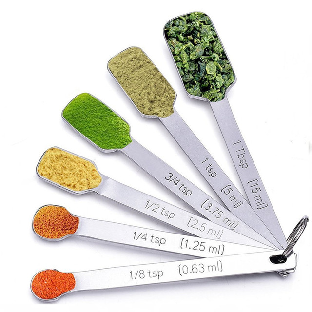 6 pieces/set narrow stainless steel measuring spoons