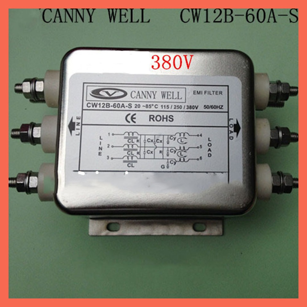 60A power supply filter 110 380V CW12B 60A S ,Three phase dedicated EMI Filter Electrical Equipment Supplies Power Adapters