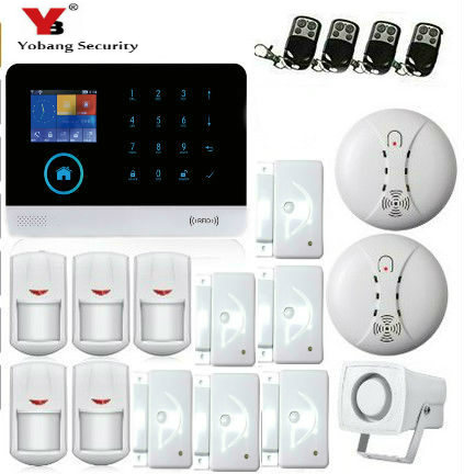 YobangSecurity Touch Screen WIFI GSM GPRS Alarm System IOS Android APP Wireless Alarm Systems Security with Door Sensor Detector yobangsecurity wifi gsm gprs home security alarm system android ios app control door window pir sensor wireless smoke detector