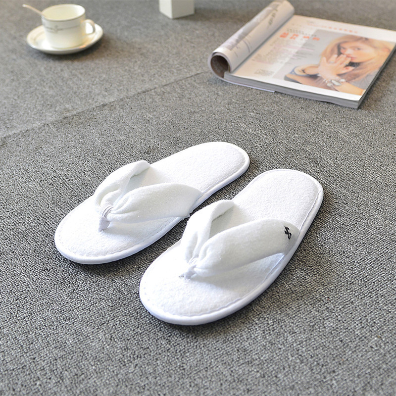5pairs wedding slippers disposable flip flops pure white and black color indoor slippers for guest