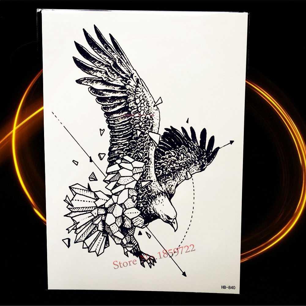 Временная татуировка Flying Eagle, черный эскиз, водостойкие наклейки хна, 21*15 см, мужской женский боди-арт тату для рук, рукав