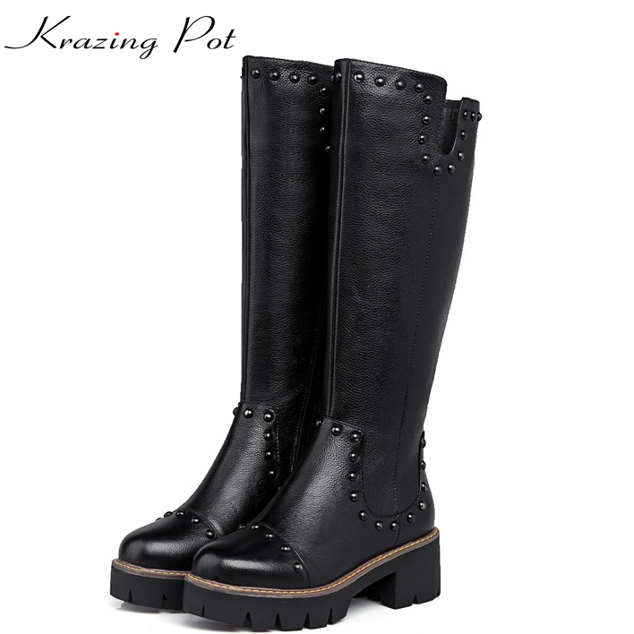 Krazing Pot 2018 fashion full grain leather solid round toe rivets decoration thigh high boots streetwear riding knee boots L1f3