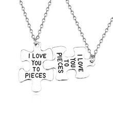 2Pcs/Set I Love You To Pieces Choker Necklace Puzzle Silver Letter Couple Best Friends Pendant necklace For Women Men Jewelry