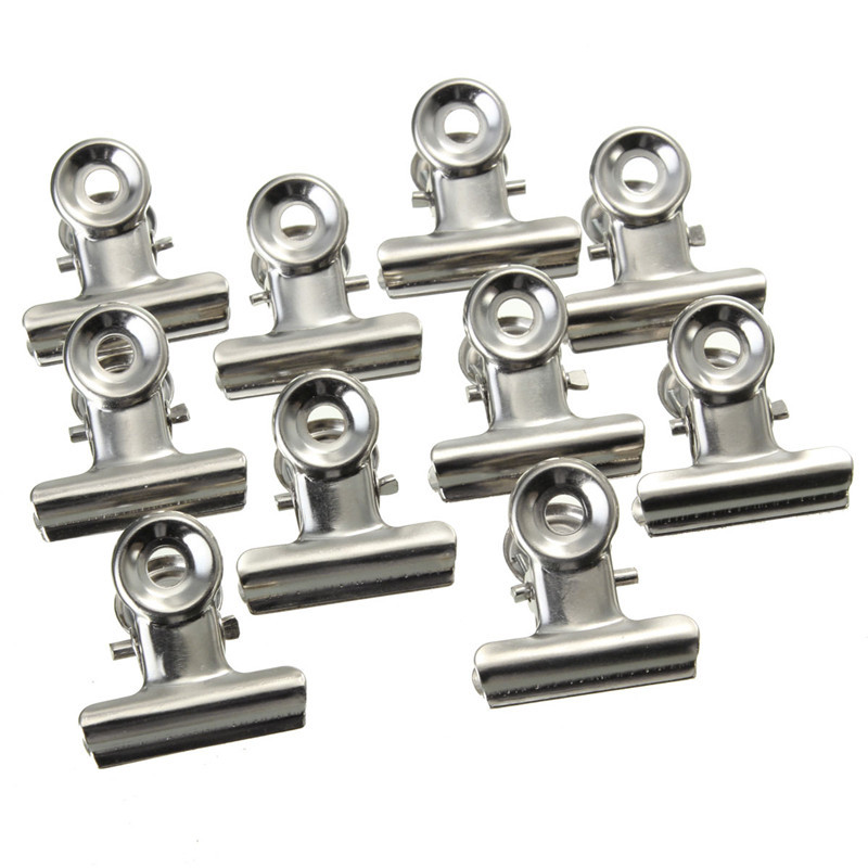 Silver Stainless Steel Metal Hinge Clips File Money Paper Binder Grip Clamp Office Tool Supplies 10pcs/set 22mm MIni Clips