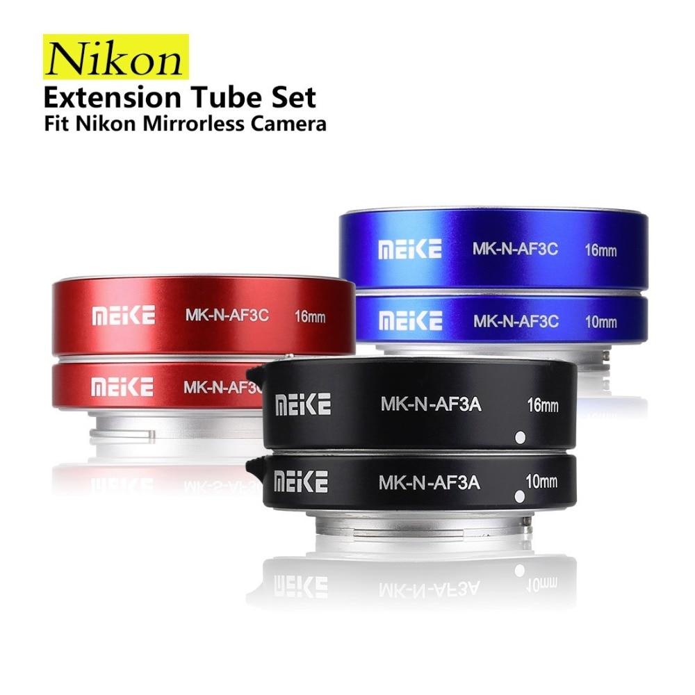 Offre spéciale Meike MK-N-AF3A monture en métal automatique AF Auto Focus Macro Extension Tube anneau pour Nikon 1 S1 J3 V2 J2 AW1 adaptateur d'objectif