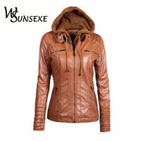 Hooded Faux Leather Jackets Women Autumn Winter Casual Tops Long Sleeve Hat Detachable PU Leather Slim