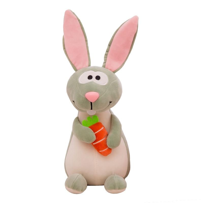 2018 Cute Rabbit Dolls 3 Color Plush Toys Long Ear With Carrots Kawaii Stuffed Toy Cartoon Christmas Gift New Year Present