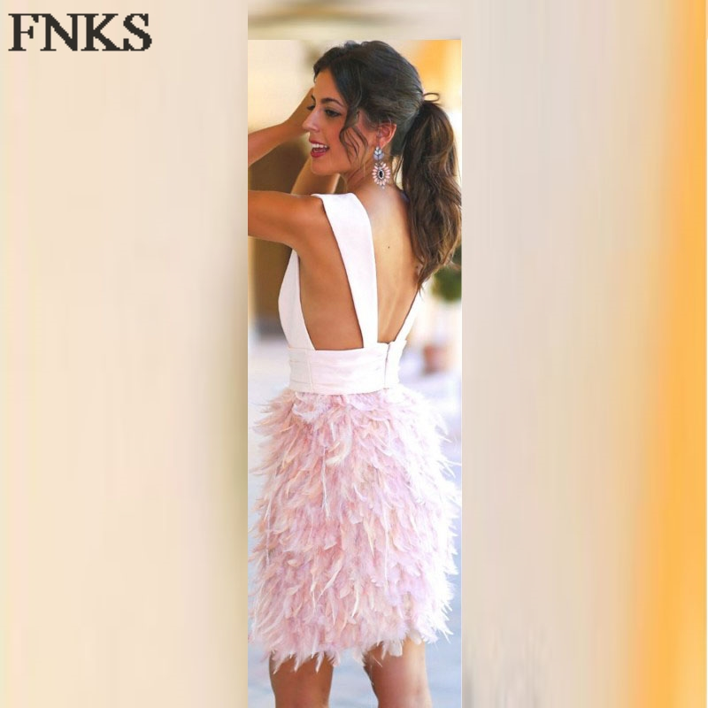 Sex Deep V Neck Mini Short Cocktail Dress Feather Skirt Pink Cocktail Party  Dresses Backless Party Gowns vestidos coctel co 5-in Cocktail Dresses from  ... 7553872b1