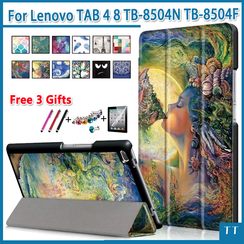 High Quality cover case For Lenovo Tab 4 8 inch tablet TB-8504F TB-8504N cover PU Leather Protective cover+Screen Film gifts 3 in 1 top quality pu leather case cover for asus memo pad 8 me181c me181 k011 screen film stylus and
