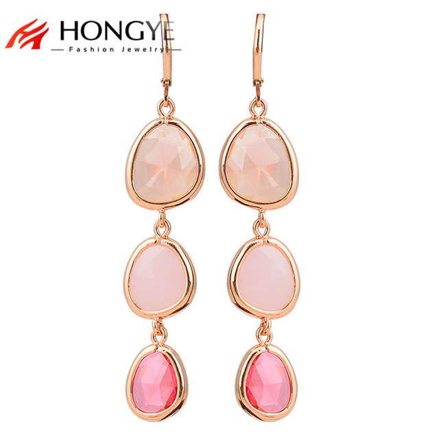 Drop Earrings For Women Fashion Jewelry Colorful Crystal Resin Stone Gold Pink Long Dangle Female