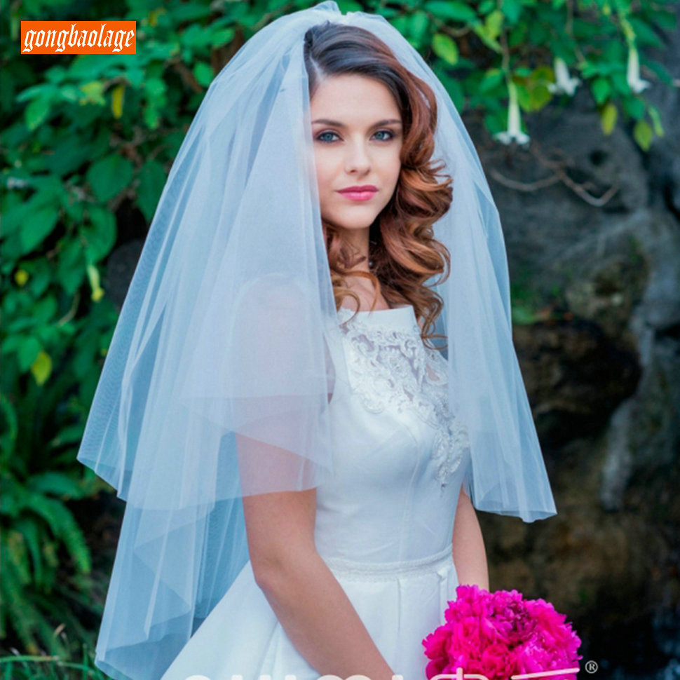 Top Quality Cut Edge Two Tier White Bridal Veil Ivory Puffy Tulle 0.75 Meter Soft Bride Veils With Comb 2020 Wedding Accessories
