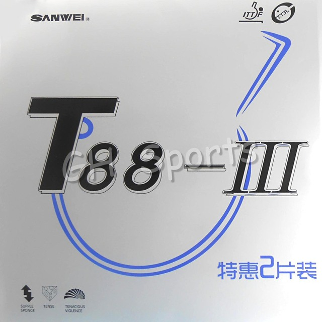 2x Sanwei T88-III A Pair Rubber in a box Pips-in Table Tennis PingPong Rubber With Sponge
