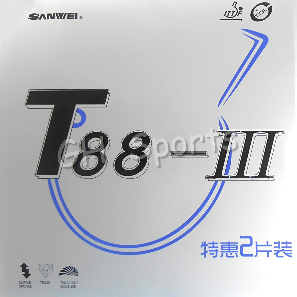 2x Sanwei T88-III UM Par de Borracha em uma caixa Pips-In Ténis de Mesa de Pingue-pongue de Borracha Com Esponja
