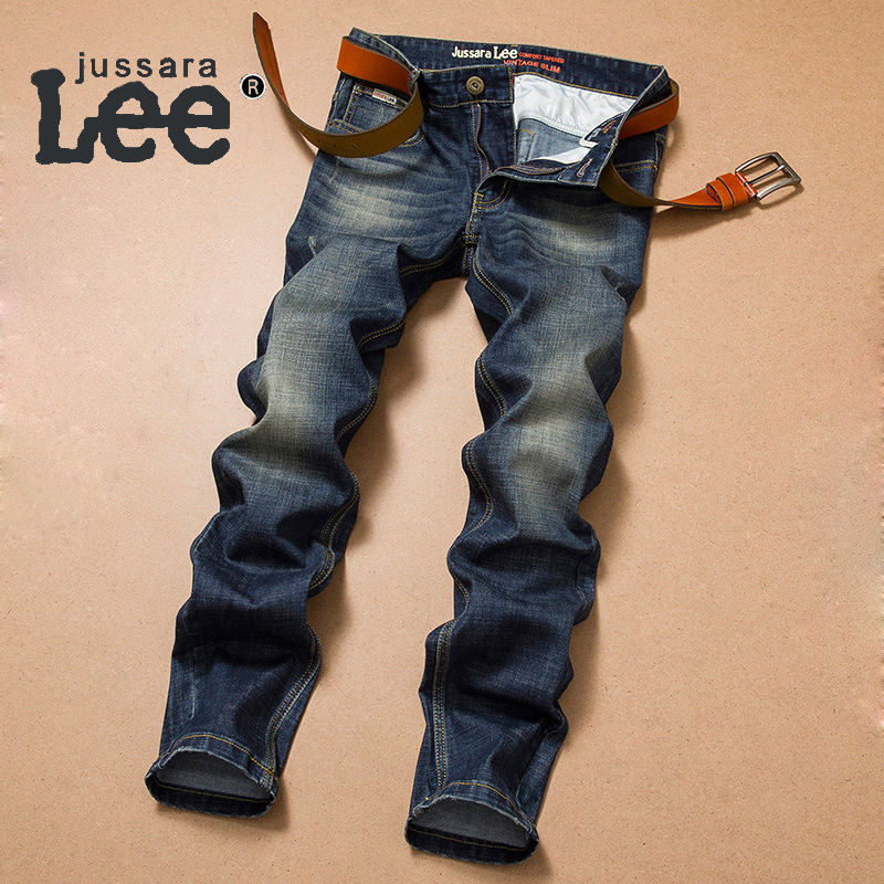 ФОТО Vintage Jeans Mens Autumn Winter Classic Denim Trousers Men's Thick Slim Straight Cotton Jeans Pants Jeans Masculino YC-2118