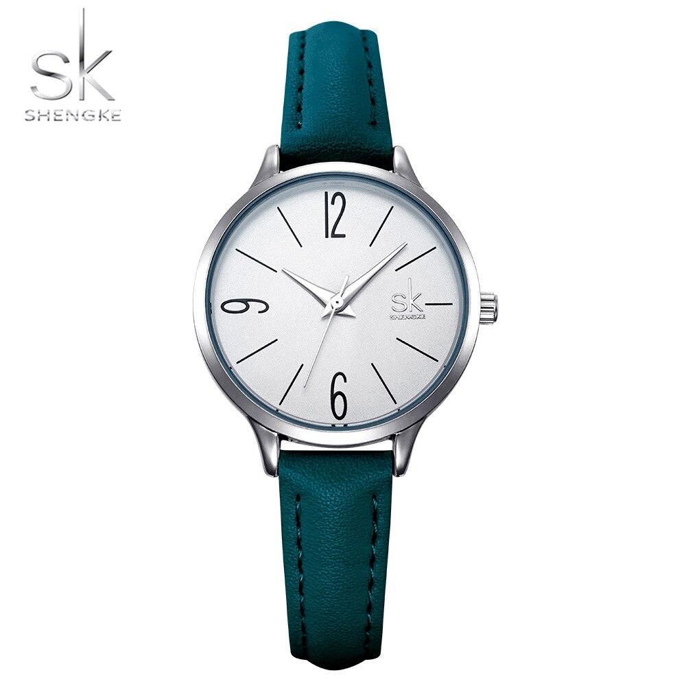 Shengke Fashion Watch Women Casual Leather Quartz Watch Round Wrist Watch Women Blue Band Watch Relogio Feminino Reloj Mujer