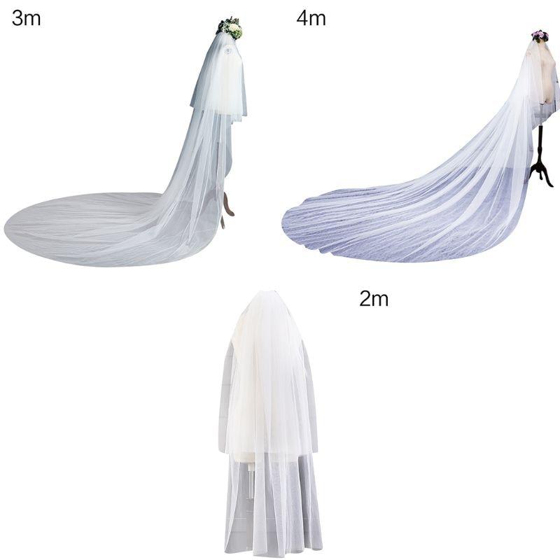 3 Größe Doppel Schicht Frauen Kathedrale Hochzeit Schleier 2 Tier Einfache Europäischen Einfarbig Weiche Tulle Drapieren Braut Schleier Mit Feste Kamm