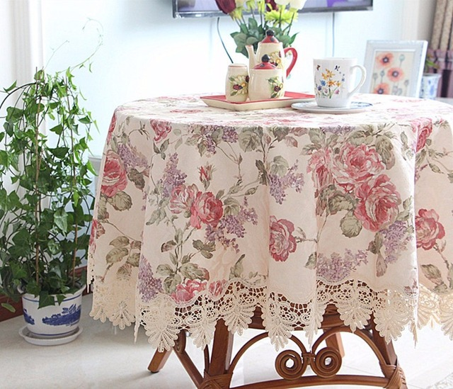 Ordinaire 70 Inch Round High End Floral Fabric Tablecloth Peony Embroidered Tablecloth  Elegant Lace Table