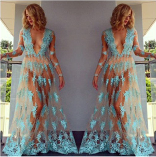 Women Sexy Long Dress New Fashion Hot Ladies Floral Long Sleeve V-Neck Casual Mesh Lace Dresses Summer Clothing
