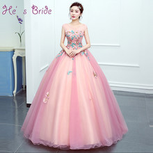 He s Bride New Sweet Elegant Pink O-neck Lace Evening Dress Ball Gown  Floor-length Embroidery Party Gown Robe De Soiree d5852dafb06f