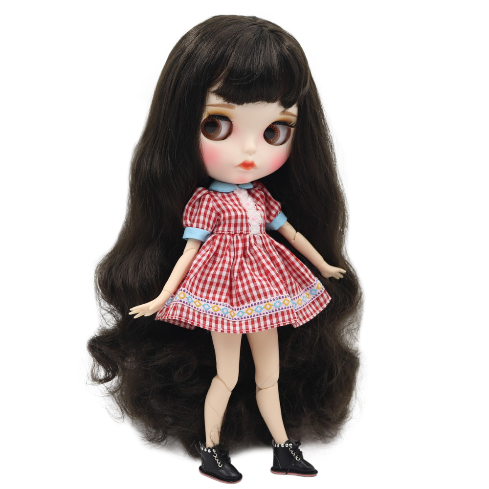 factory blyth doll 1 6 bjd white skin joint body deep brown black hair new matte