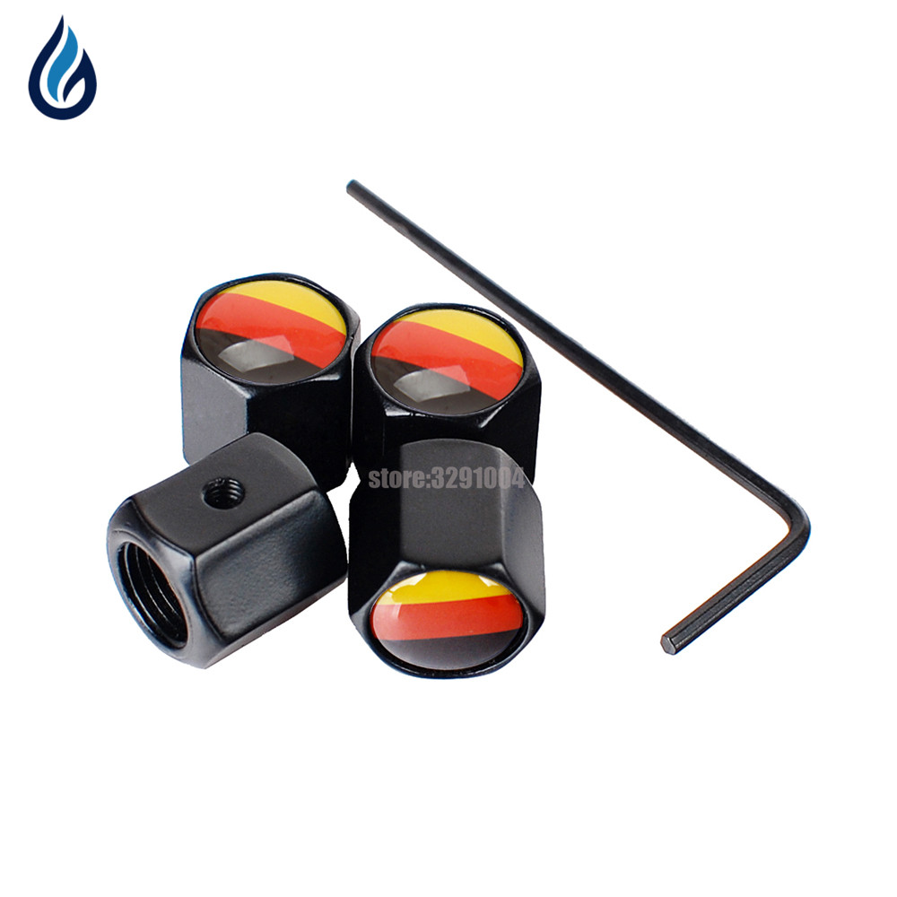 Germany Flag Logo Car Wheel Tire Valve Stems Caps Anti-Theft Cover For Volkswagen Mercedes Benz Skoda Opel Audi BMW Ford Renault