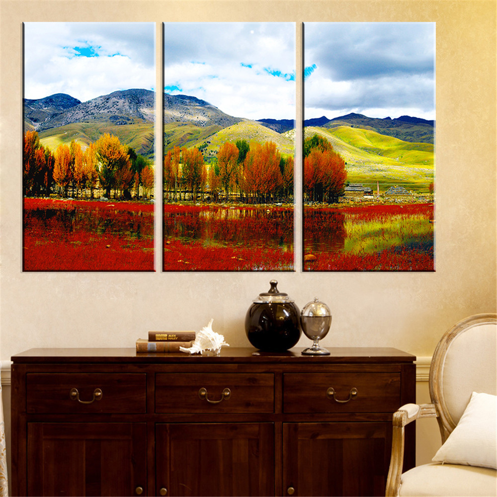 Canvas painting tree scenery wall oil painting art picture for Art for house decoration