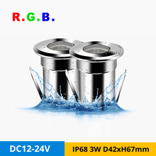 4pcs/lot Mini 3W IP68 Underwater Light DC12V 24V Outdoor Ground Buried Swimming pool RGB LED Spot Lamp Hole-cut D31mm