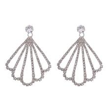 Fashion New Bohemian Geometric Fan Shaped Full Rhinestone Crystal Dangle Wedding earrings Female Girl Party Jewelry