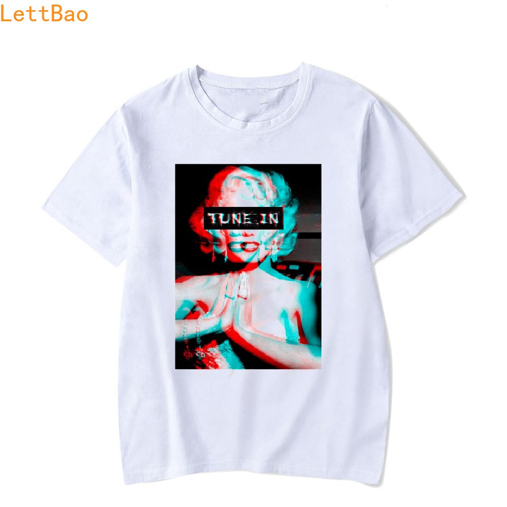 Summer 2019 Fashion Short Sleeve TRIPPY PSYCHEDELIC MARILYN MONROE T Shirt Men Unisex Harajuku Sexy Vogue Marilyn Monroe Print