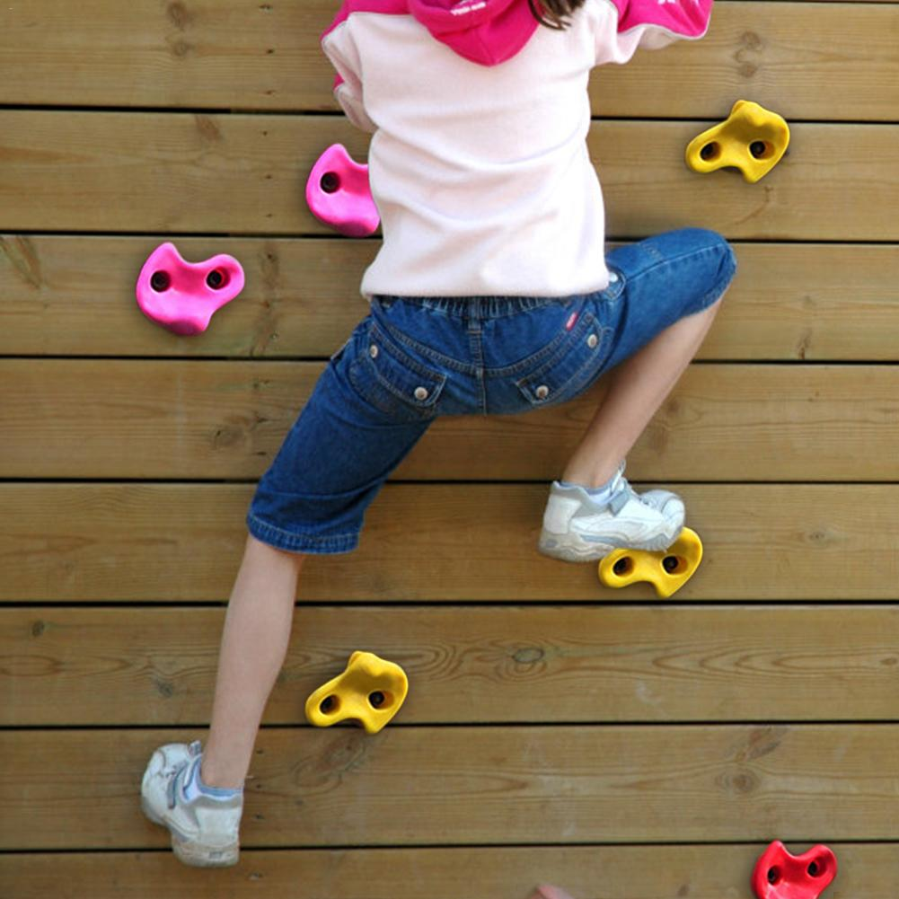 10PCS Children Climbing Rocks Outdoor Resin Climbing Wall Stones Hand Feet Holds Grip Hardware Kits Children Kids Toys Sport