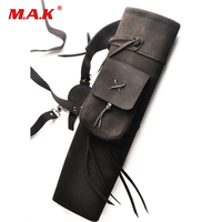 Back Arrows Quiver 21 Inches in Black 3 Point Harness Leather Bag for Archery Hunting Shooting