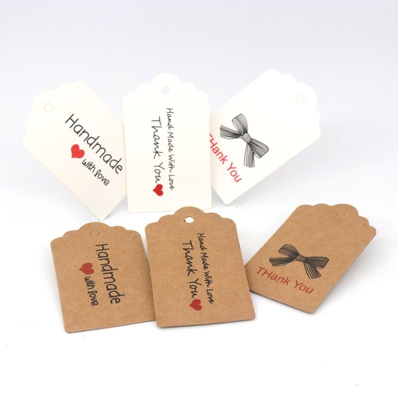 Rectangle Kraft Paper Jewelry Cards Gift Label Tags Bow Handmade With Love Thank You Heart DIY Baking Flower Jewelay Accessories in Jewelry Packaging Display from Jewelry Accessories