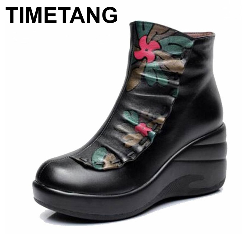 TIMETANG   Winter Woman boots Shoes Plush Ladys Boots Women National trend genuine leather boots handmade ankle Shoes flowerTIMETANG   Winter Woman boots Shoes Plush Ladys Boots Women National trend genuine leather boots handmade ankle Shoes flower